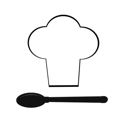serving tray: Silhouette of chef holding serving tray