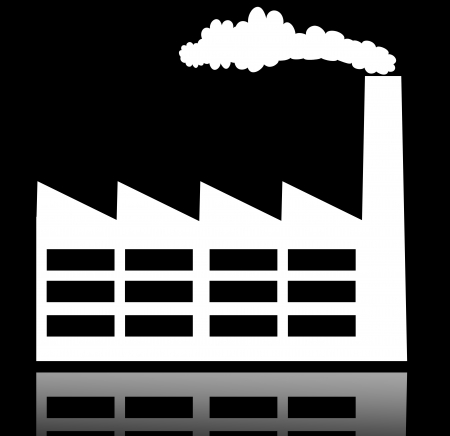 Industrial building factory and power plants icon photo