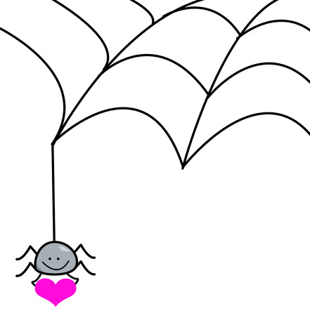 spider web and spider holding a heart