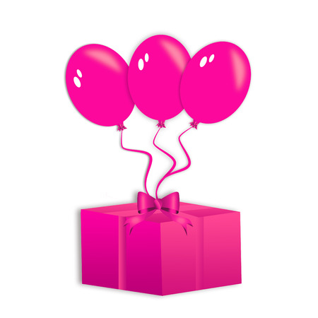 pink flying balloons lifting a pink present isolated on white photo