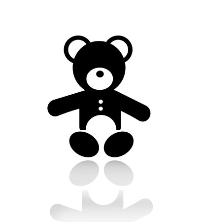 silhouette of a teddy bear isolated on white background with reflection on a background  photo
