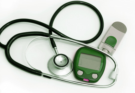 diabetes meter kit: stethoscope, and device for measuring blood sugar level