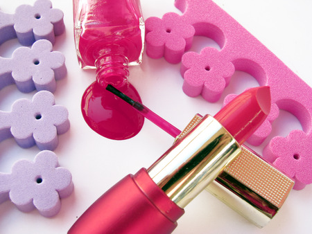 spilled nail polish,lipstick and accessories  photo