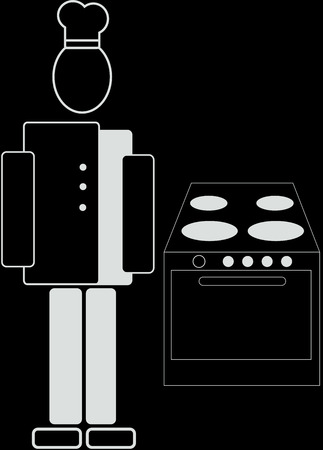 caterer: chef and a stove