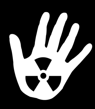 radio active sign i on a persons hand photo