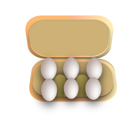 Six eggs in container photo