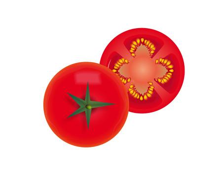 illustration of big ripe red fresh tomato isolated on white background illustration