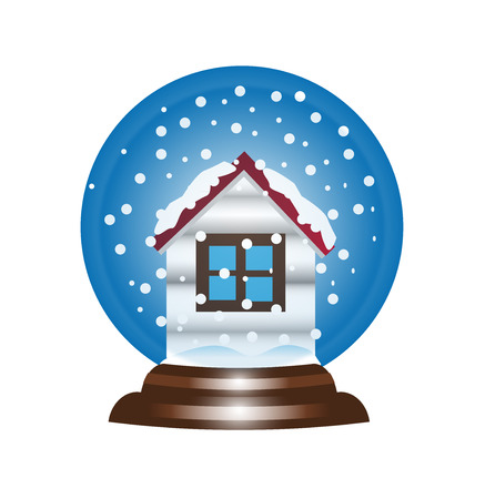 snowball: Snow globe snowball icon, with house shape and snowflakes