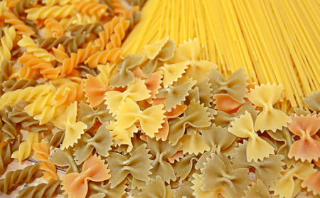 pasta: Variety of types and shapes of Italian pasta. Dry pasta background Stock Photo