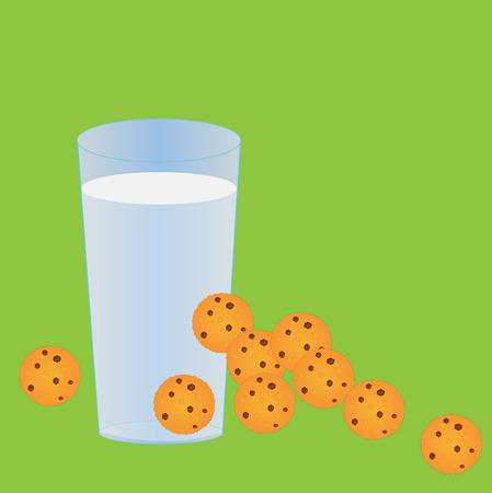indulgence: Milk and cookies Stock Photo