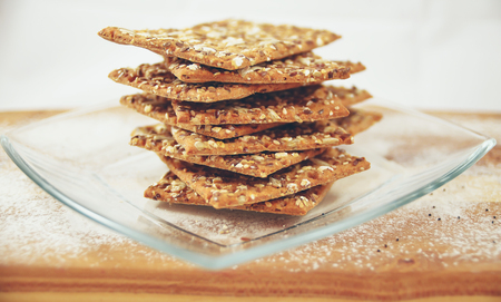 healthy snack: Integral biscuits plates with sesame and flax