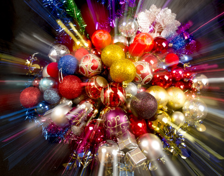 turns of the year: Merry christmas and happy new year card with colorful decoration