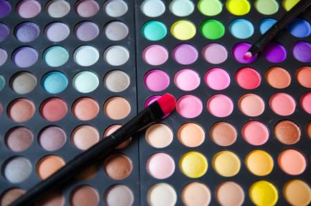 eye shadows: Palette of colorful eye shadows.