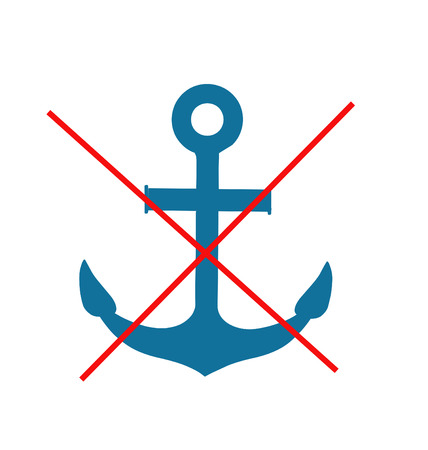 ban sign: Stop or ban sign with anchor icon isolated