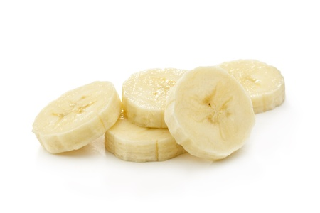 Banana slices isolated on a white photo