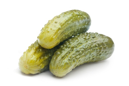 Pickled cucumbers on white background  photo