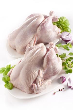 carne de pollo: Pollo crudo aislado en fondo blanco con especias