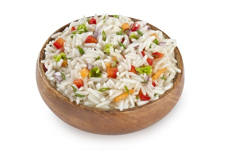 rice garnish in bowl with carrot and red peppers