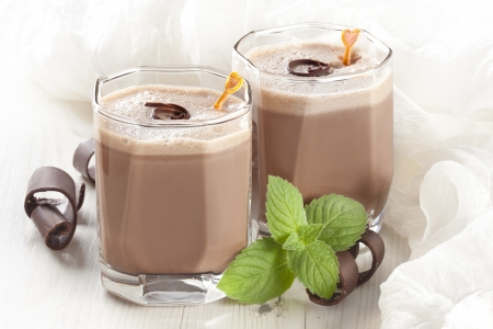 chocolate milkshake with mint photo