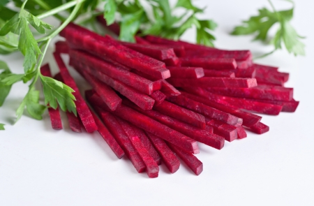 shreds: shreds beet, beetroot ingredient for cooking Stock Photo