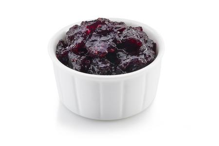 bilberries: bilberries raspberry marmalade isolated on white background  Stock Photo