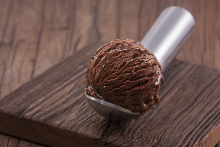 Chocolate ice cream scoop 写真素材