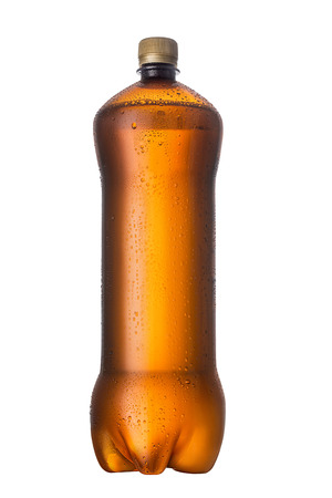 Isolated Brown plastic bottle beer drink without label on a white background