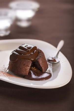 Hot chocolate fondant lava cake pudding Stock Photo