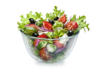 Mediterranean Greek Salad with Feta on white 写真素材