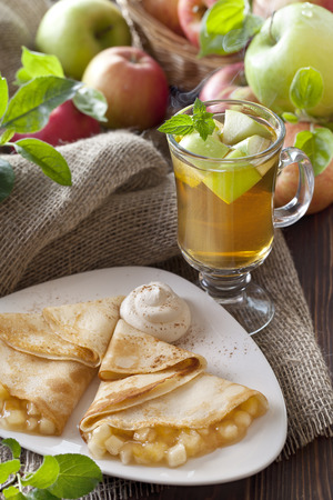 apple tea and pancake stuff with apples