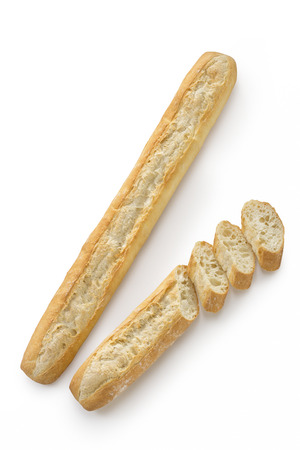 French bread baguette on a white background isolated top view Reklamní fotografie