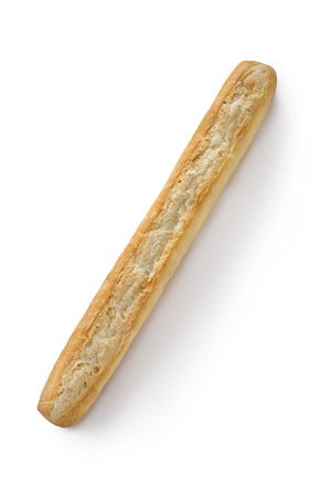 pan frances: French bread baguette on a white background isolated top view Foto de archivo
