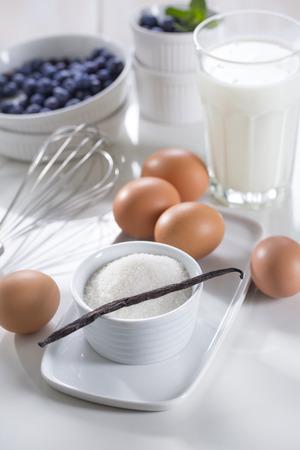 Creme brulee ingredients: eggs yolks, sugar, vanilla and cream.