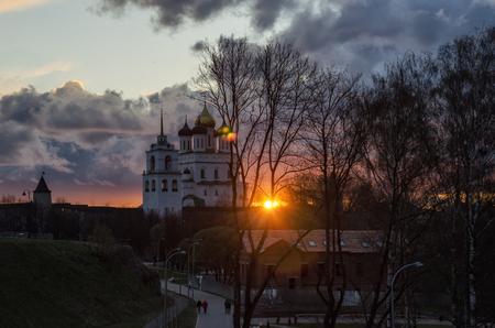 trinity: Pskov Trinity cathedral. Sunset over Pskov Kremlin