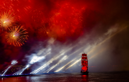 nights: Celebration Scarlet Sails show during the White Nights Festival, June 20, 2015, St. Petersburg, Russia.