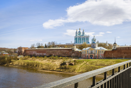assumption: Holy assumption Cathedral. Smolensk. Russia. View from bridge. Sunny day