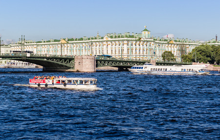 neva: View Winter Palace in Saint Petersburg from Neva river and boat. 16 july 2016. Saint-Peterburg. Editorial