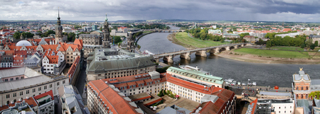 Aerial view downtown Dresden, with the Furstenzug, the Cathedral and the Castle to be recognised. Stock Photo