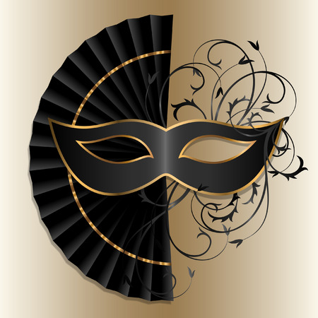 elegant carnival mask and fan