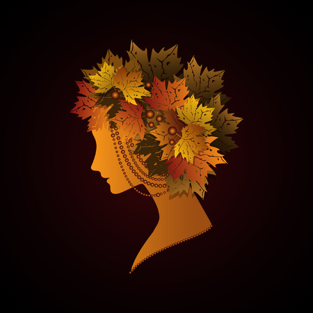 silhouette of woman with autumn leaves 矢量图像