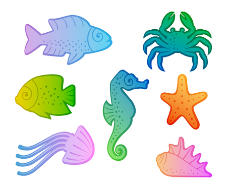 aquatic animal set 矢量图像