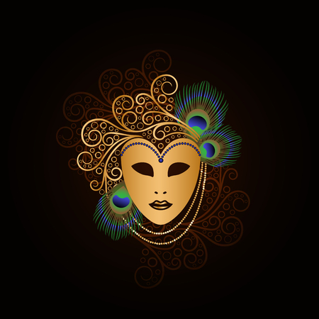 Golden mask with peacock feathers illustration. 矢量图像