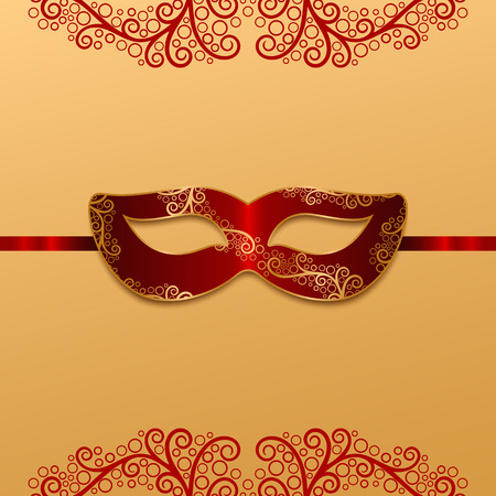 red carnival mask with golden decoration Vector illustration.