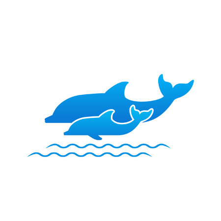 Two dolphins and waves illustration.