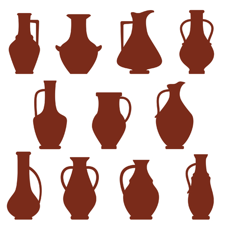 clay pitchers set Vector illustration. Иллюстрация