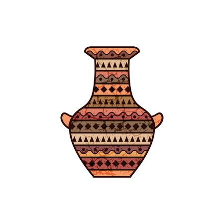 painted clay jar Vector illustration.