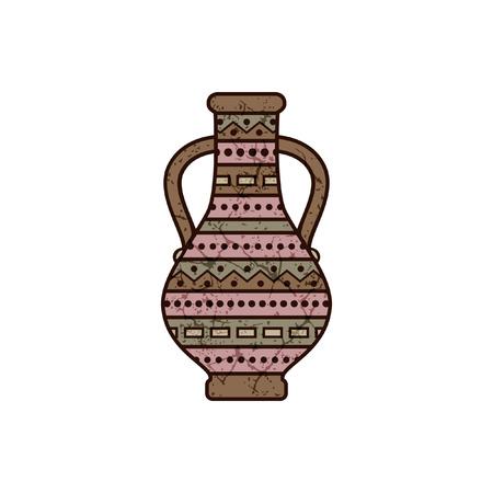 stylized pitcher with geometrical ornament Vector illustration.