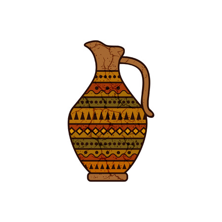 clay pitcher with geometrical ornament Vector illustration.