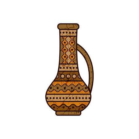 stylized clay pitcher Vector illustration. Vectores