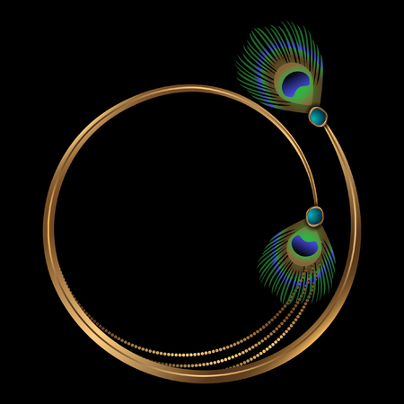 Golden frame with peacock feathers design